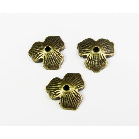 Kepurėlė, lapo formos, skirta papuošalų gamybai bronzinės spalvos 11 mm