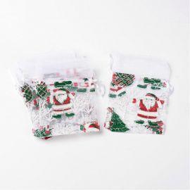 Dekoratyvinis organzos audinio maišelis, baltos spalvos, su kalėdiniais motyvais. Dydis 130x90 mm, 1 vnt.