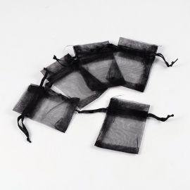 Dekoratyvinis organzos audinio maišelis, juodos spalvos. Dydis 70x50 mm, 5 vnt. 1 pakuotė