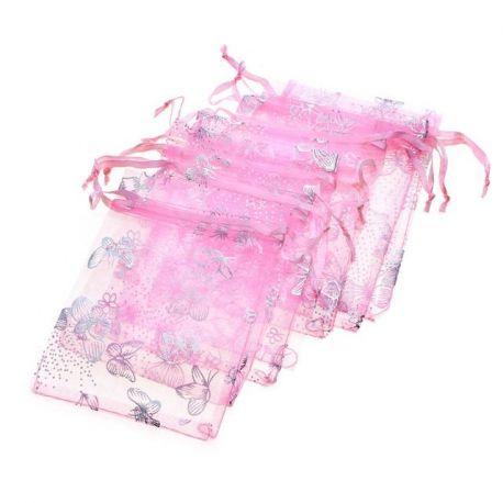 """Organzos maišelis """"Drugelis"""", rožinės spalvos, dovanoms, papuošalams 9x7 cm, 1 vnt."""