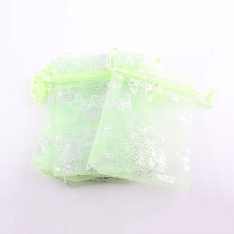 """Organzos maišelis """"Drugelis"""" skirtas supakuoti suvenyrams papuošalams, smulkmenoms. Salotinės spalvos, kaina - 0,21 Eur už 1 vnt"""