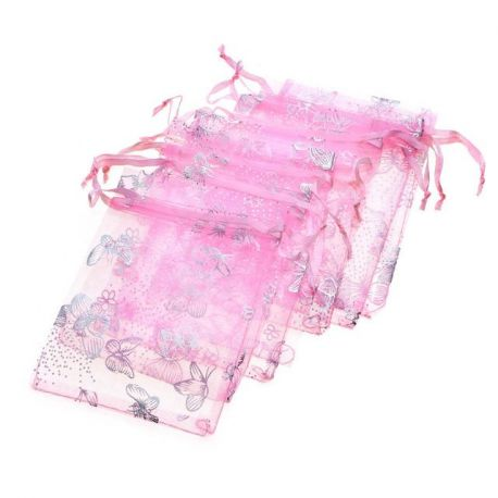 """Organzos maišelis """"Drugelis"""", rožinės spalvos, dovanoms, papuošalams 12x9 cm, 1 vnt."""
