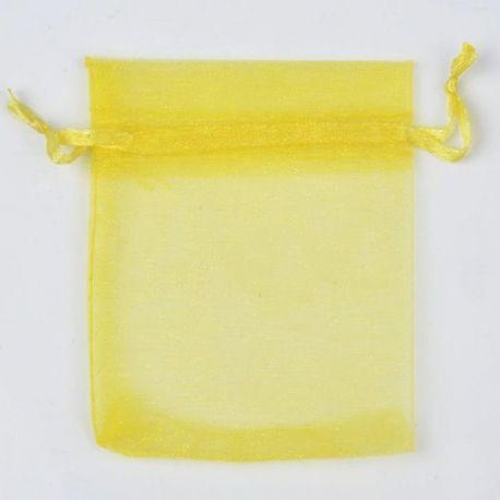 Organzos maišelis, geltonos spalvos, dovanoms, papuošalams 12x10 cm, 1 vnt.
