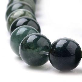 Natūralūs samaninio agato karoliukai 8 mm, 1 gija