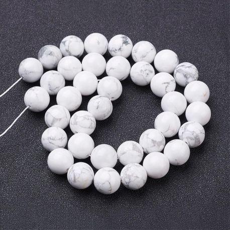 Natūralūs houlito karoliukai, baltos-pilkos spalvos, vėriniams, apyrankėms, verti 10 mm, 1 gija