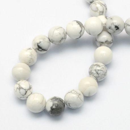 Natūralūs houlito karoliukai, baltos-pilkos spalvos, vėriniams, apyrankėms, verti 8,5 mm, 1 gija