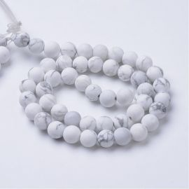 Natural Howlite beads 8,5 mm, 1 strand