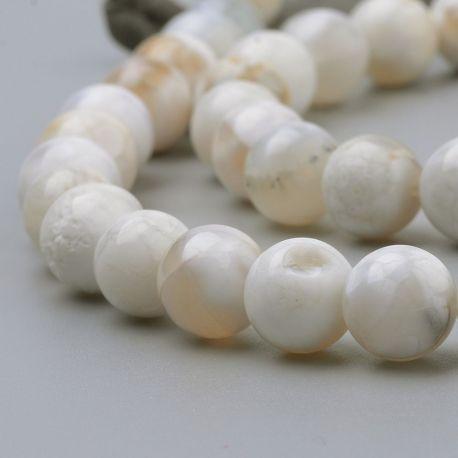 Natūralūs agato karoliukai, baltos-gelsvos spalvos, vėriniams, apyrankėms, verti 8 mm, 1 gija