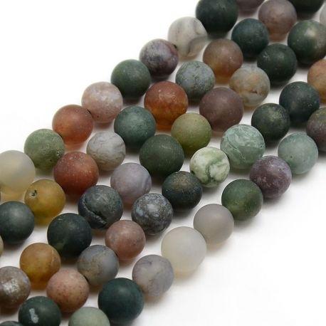 Natūralūs Indijos agato karoliukai, žalios-rusvos-pilkos spalvos, vėriniams, apyrankėms, verti 8 mm, 1 gija