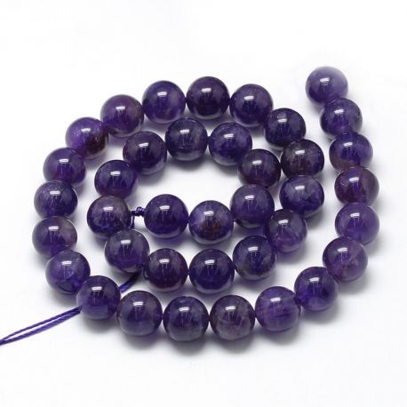 Natūralūs ametisto karoliukai, violetinės spalvos, vėriniams, apyrankėms, verti 8-9 mm, 1 gija