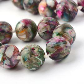 SHELL perlų karoliukai. Akmenėliai skirti suvenyrams papuošalams, rankdarbiams, smulkmenoms gaminiti. Žalios-rusvos-rožinės spal