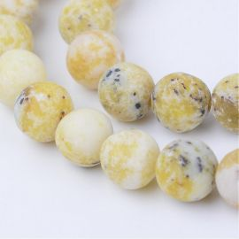 Natūralūs geltonojo turkio karoliukai 10 mm., 1 gija