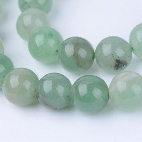 Natūralūs avantiurino karoliukai, žalios spalvos, vėriniams, apyrankėms, verti 10 mm, 1 gija