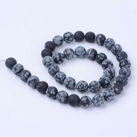 Natūralūs snieginio obsidiano karoliukai, juodos-pilkos spalvos, vėriniams, apyrankėms, verti 10 mm, 1 gija