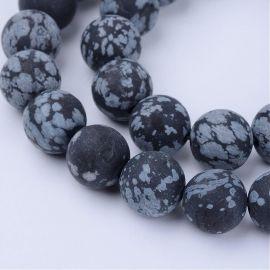 Natūralūs snieginio obsidiano karoliukai 10 mm., 1 gija