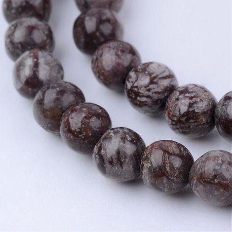 Natūralūs snieginio obsidiano karoliukai, rudos-pilkos spalvos, vėriniams, apyrankėms, verti 8 mm, 1 gija