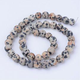 Natūralūs dalmatininio jaspio karoliukai 8 mm., 1 gija