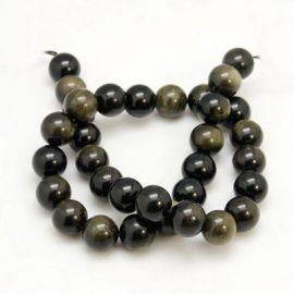 Natūralūs obsidiano karoliukai, juodos spalvos su žalsvos spalvos blizgesiu, vėriniams, apyrankėms, verti 10 mm, 1 gija
