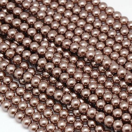 Stikliniai perliukai AA klasės, rudos spalvos, vėriniams, apyrankėms, verti 10 mm, 1 gija