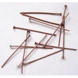 Metaliniai smeigtukai, sendintos vario spalvos, vėriniams, apyrankėms, rankdarbiams gaminti 30x0,7 mm, apie 100 vnt.