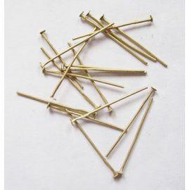 Metaliniai smeigtukai, sendintos bronzinės spalvos, vėriniams, apyrankėms, rankdarbiams gaminti 30x0,7 mm, apie 100 vnt.