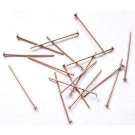 Metaliniai smeigtukai, sendintos vario spalvos, vėriniams, apyrankėms, rankdarbiams gaminti 20x0,7 mm, apie 100 vnt.