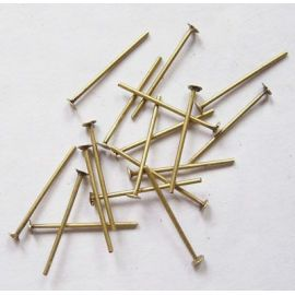 Metaliniai smeigtukai, sendintos bronzinės spalvos, vėriniams, apyrankėms, rankdarbiams gaminti 20x0,7 mm, apie 100 vnt.