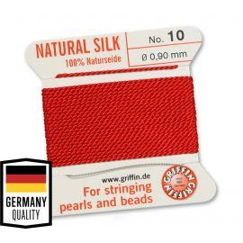 GRIFFIN šilkinis siūlas su adata Nr.10. Raudonos spalvos, kaina - 1,5 Eur už 2 m.