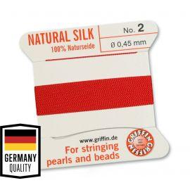 GRIFFIN šilkinis siūlas su adata Nr.2. Raudonos spalvos, kaina - 1,5 Eur už 2 m.
