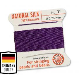 GRIFFIN Silk thread with Needle, 0.75 mm., 2 m., 1 ritinėlis