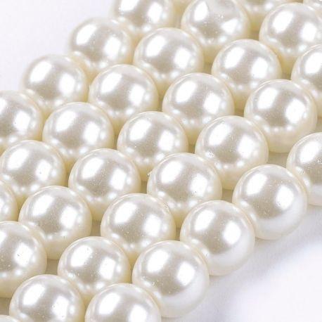 Stikliniai perliukai 8 mm, skirti suvenyrams papuošalams, rankdarbiams, smulkmenoms gaminti. Šiltos baltos spalvos, apvalios for