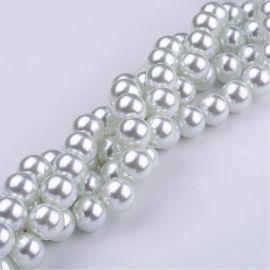Stikliniai perliukai 10 mm, skirti suvenyrams papuošalams, rankdarbiams, smulkmenoms gaminti. Šaltos baltos spalvos, apvalios fo