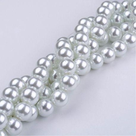 Stikliniai perliukai šaltos baltos spalvos, vėriniams, 10 mm, 1 gija