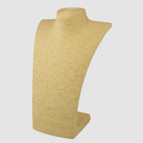 Papuošalų eksponavimo stovas - biustas, pagamintas iš gelsvos, smėlio spalvos ratano, dydis apie 223x195x115 mm., 1 vnt