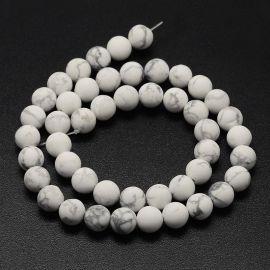 Natūralūs houlito karoliukai, baltos-pilkos spalvos, perlams, vėriniams, apyrankėms, akmenėliams, karoliukams verti, 10 mm dydži