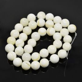 SHELL perlų karoliukai, 10 mm., 1 gija