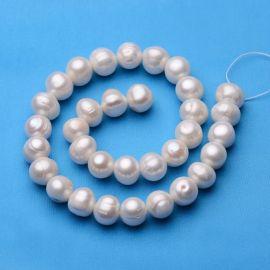 Gėlavandeniai perlai, šiltos baltos spalvos, perlams, vėriniams, apyrankėms, akmenėliams, karoliukams verti, 12-13 mm dydžio, 1
