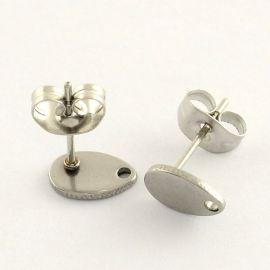 Nerūdijančio plieno 304 auskarų kabliukai su fiksatoriumi, 8x5 mm., 1 pora
