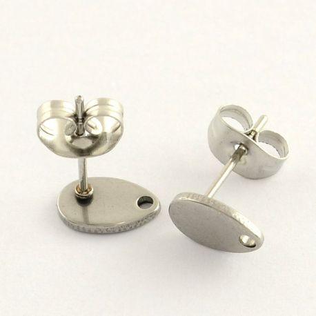 Nerūdijančio plieno 304 auskarų kabliukai su fiksatoriumi, nikelio spalvos, perlams, vėriniams, apyrankėms, akmenėliams, karoliu