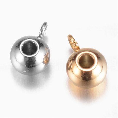 Stainless steel 304 pendant holder . Gold, price - 0.61 Eur for 1 bag