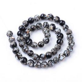 Gėlavandeniai SHELL perlai, juodos-baltos spalvos, perlams, vėriniams, apyrankėms, akmenėliams, karoliukams verti, 7-8 mm dydžio
