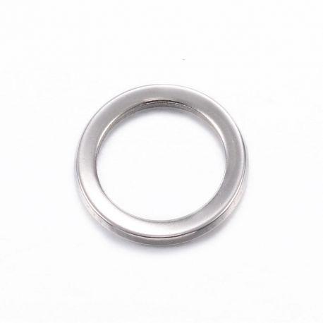 Nerūdijančio plieno 304 uždaras žiedas, nikelio spalvos, perlams, vėriniams, apyrankėms, akmenėliams, karoliukams verti, 11x1 mm