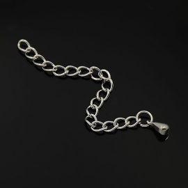 Nerūdijančio plieno 304 užbaigimo grandinėlė su užbaigimo ląšeliu, nikelio spalvos, perlams, vėriniams, apyrankėms, akmenėliams,