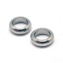 Nerūdijančio plieno 304 uždaras žiedas, nikelio spalvos, perlams, vėriniams, apyrankėms, akmenėliams, karoliukams verti, 6x2 mm