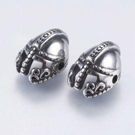"""Nerūdijančio plieno 304 intarpas """"Šalmas"""", nikelio spalvos, perlams, vėriniams, apyrankėms, akmenėliams, karoliukams verti, 15x1"""