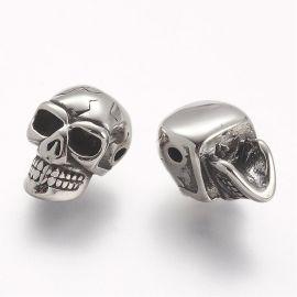 """Nerūdijančio plieno 304 intarpas """"Kaukolė"""", nikelio spalvos, perlams, vėriniams, apyrankėms, akmenėliams, karoliukams verti, 14x"""