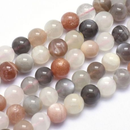 Natūralūs mėnulio akmens karoliukai, baltos-pilkos-rusvos spalvos, perlams, vėriniams, apyrankėms, akmenėliams, karoliukams vert
