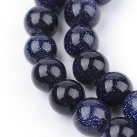 Synthetic Blue goldstone beads, 10 mm., 1 strand