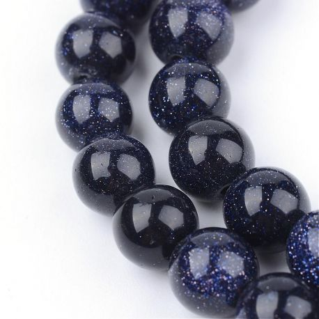 Sintetiniai Kairo nakties karoliukai . Tamsiai mėlynos spalvos su blizgučiais, apvalios formos, kaina - 6,5 Eur už 1 gija