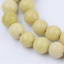 Natūralūs geltonojo jaspio karoliukai, 10 mm., 1gija